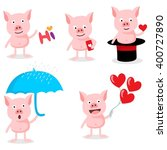 set pig emoticons character  | Shutterstock .eps vector #400727890