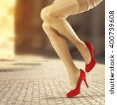 closeup of woman legs  | Shutterstock . vector #400739608