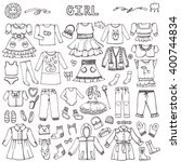 girl fashion wear set.baby... | Shutterstock .eps vector #400744834