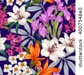 seamless exotic pattern with... | Shutterstock .eps vector #400754860