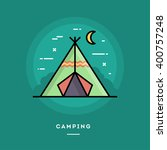 camping  flat design thin line... | Shutterstock .eps vector #400757248