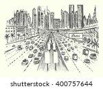 dubai busy highway scene with...   Shutterstock .eps vector #400757644
