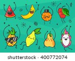 Cute Kawaii Cartoon Fruits Set...