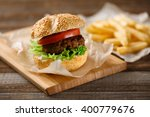 homemade hamburgers and french... | Shutterstock . vector #400779676