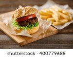 homemade hamburgers and french... | Shutterstock . vector #400779688