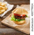 homemade hamburgers and french... | Shutterstock . vector #400779814