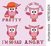 set of four pink cartoon owls...