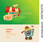 shopping and sale. buy gifts.... | Shutterstock .eps vector #400782370