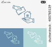line icon  hand  money for house   Shutterstock .eps vector #400785139