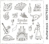 hand drawn doodle spain symbols ... | Shutterstock .eps vector #400793344