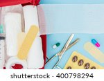 opened first aid kit with... | Shutterstock . vector #400798294