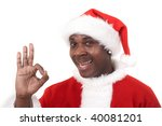 happy black santa claus showing ... | Shutterstock . vector #40081201