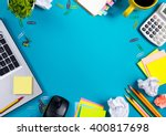 office table desk with set of... | Shutterstock . vector #400817698