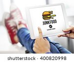 junk food fast food unhealthy... | Shutterstock . vector #400820998