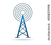 antenna tower with waves logo... | Shutterstock .eps vector #400835998