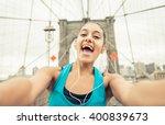 runner girl taking selfie on... | Shutterstock . vector #400839673