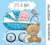 greeting card its a boy with... | Shutterstock .eps vector #400839799