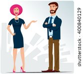 conversation at work | Shutterstock .eps vector #400840129