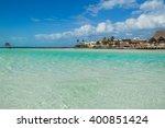 beautiful beach with water... | Shutterstock . vector #400851424