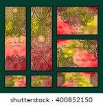 set of watercolor background... | Shutterstock .eps vector #400852150