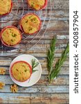 savory herb walnut muffins | Shutterstock . vector #400857904