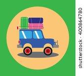 one suv on orange green... | Shutterstock .eps vector #400864780