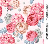 hydrangea and peony seamless | Shutterstock .eps vector #400868200