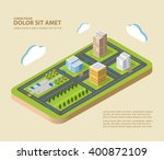 flat isometric city. urban... | Shutterstock .eps vector #400872109
