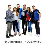 group of smiling friends... | Shutterstock . vector #400879450
