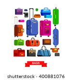 travel bags in various colors....   Shutterstock .eps vector #400881076