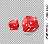 Red Dices On Transparent...