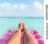 summer vacation girl lower body ... | Shutterstock . vector #400895488
