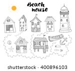 beach huts and bungalows  hand... | Shutterstock .eps vector #400896103