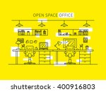 open space office line art... | Shutterstock .eps vector #400916803