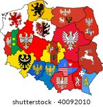 administration map of polish... | Shutterstock . vector #40092010