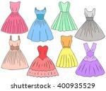 doodle dresses set. different... | Shutterstock .eps vector #400935529