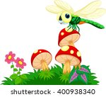 dragonfly perched on mushrooms  | Shutterstock .eps vector #400938340