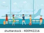 business people in airport... | Shutterstock .eps vector #400942216