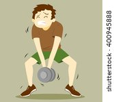 a weak guy feels pain with... | Shutterstock .eps vector #400945888