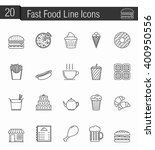 20 fast food line icons  vector ... | Shutterstock .eps vector #400950556