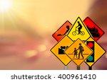 set of traffic sign on motion... | Shutterstock . vector #400961410