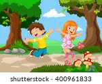 Stock vector boys and girls jumping for joy in a beautiful garden 400961833