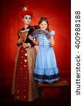 portrait girl in costume red... | Shutterstock . vector #400988188