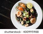 Seafood Tom Yum Squid Ink...
