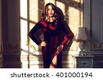fashion vogue style portrait of ... | Shutterstock . vector #401000194