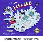 Illustrated Map Of Iceland....