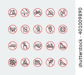 Prohibition Signs Linear Vector ...