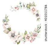 watercolor floral wreath with... | Shutterstock . vector #401011786