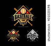 golden baseball sport badge... | Shutterstock .eps vector #401020198