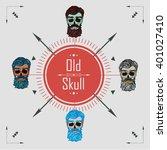 skull with a beard   old skull  ... | Shutterstock .eps vector #401027410